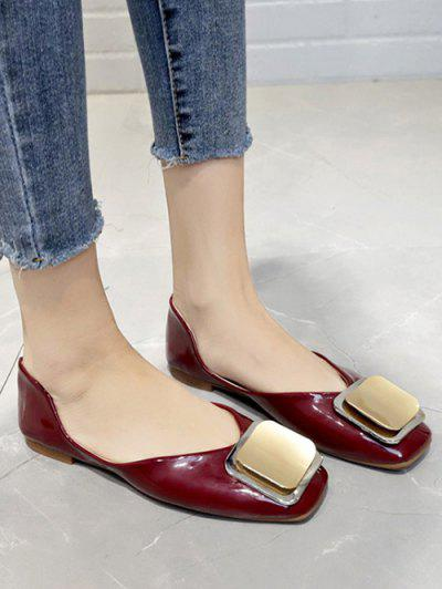 Square Embellished Slip On Flat Shoes - Red Wine Eu 40