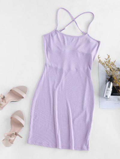 ZAFUL Knitted Criss Cross Backless Bodycon Dress - Purple Mimosa M