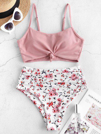 ZAFUL Textured Floral Ruched Tankini Swimwear - Rose S