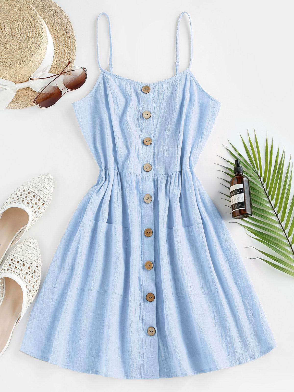 ZAFUL Button Up Shirred Cami Pocket Dress thumbnail