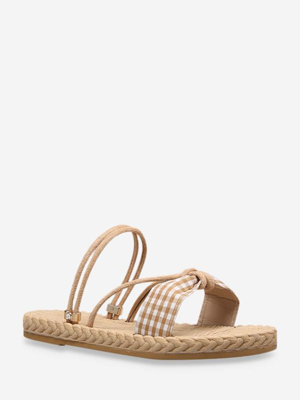 Plaid Bowknot Convertible Strap Flat Sandals