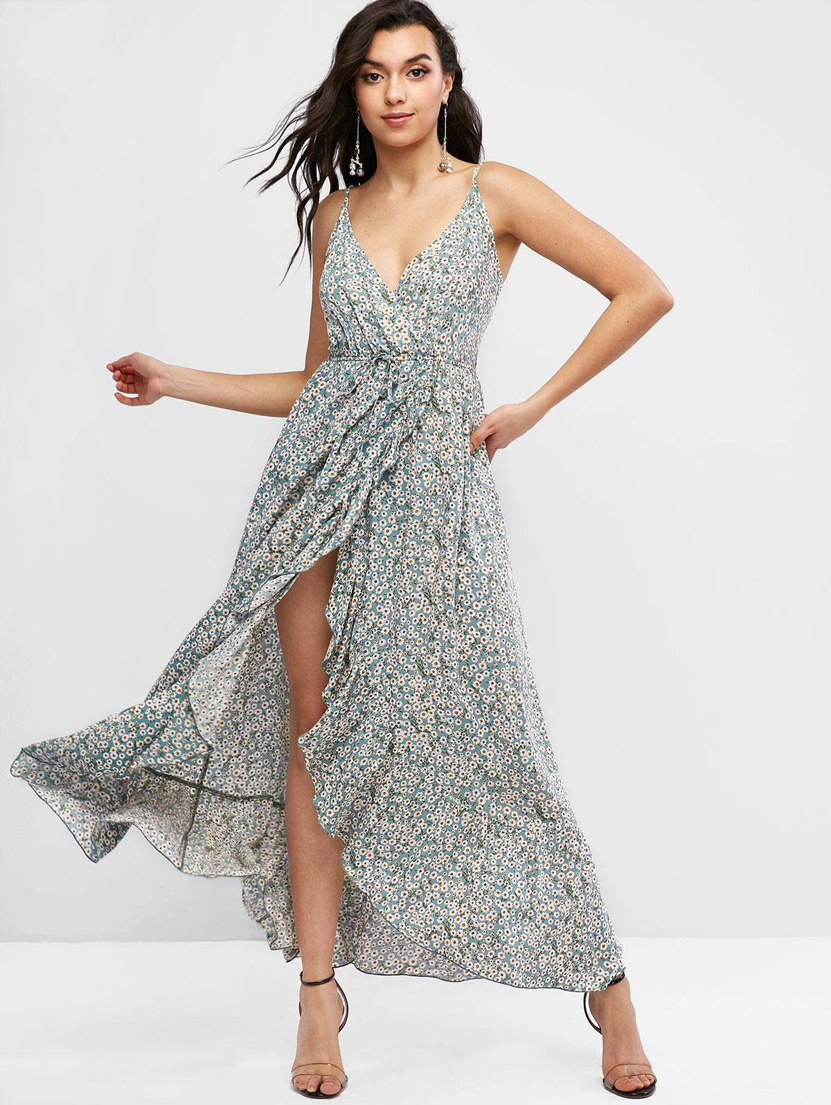 ZAFUL Tiny Floral Ruffles Asymmetric Cami Dress