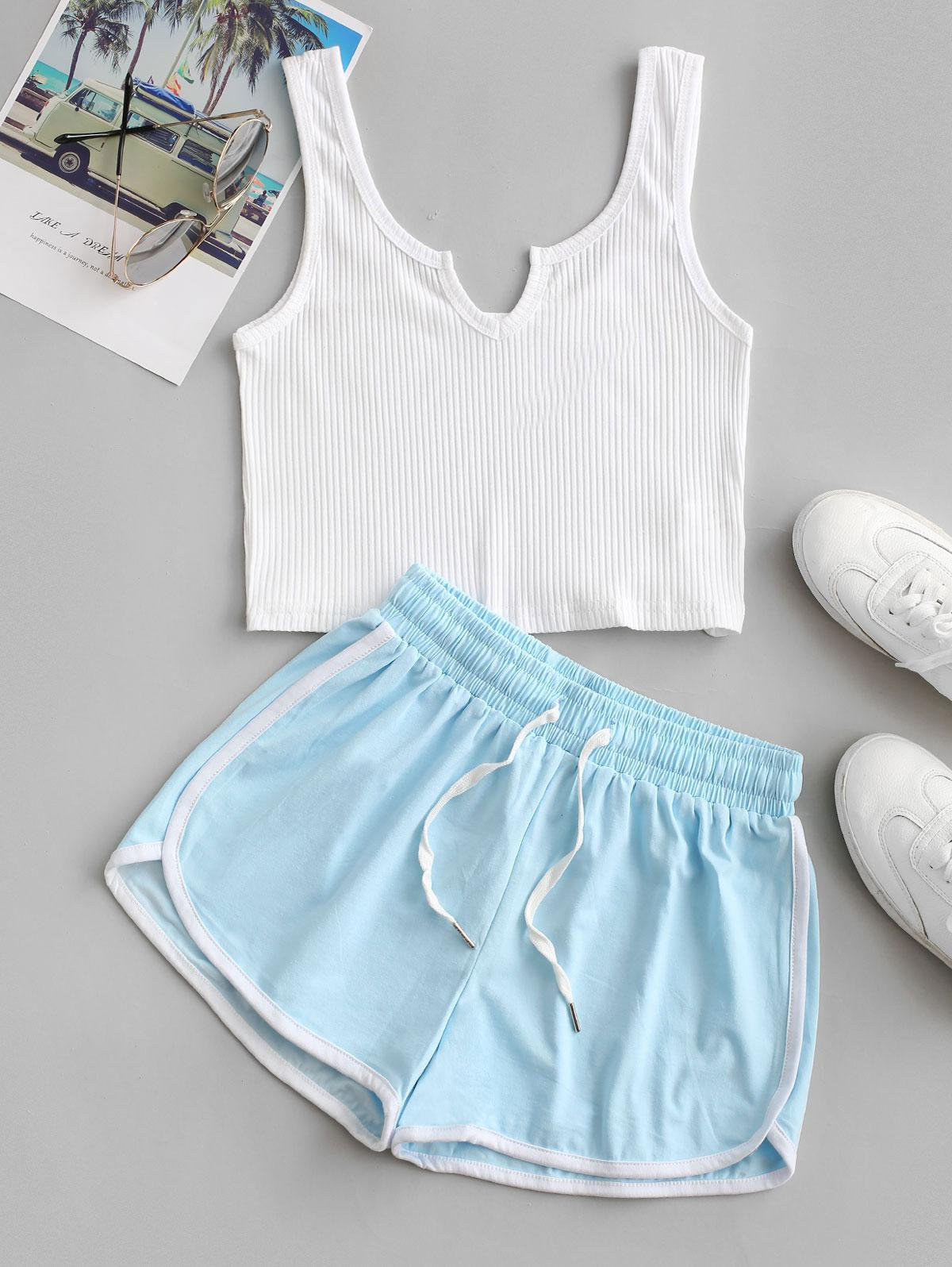 Crop Tank Top and Dolphin Shorts Set