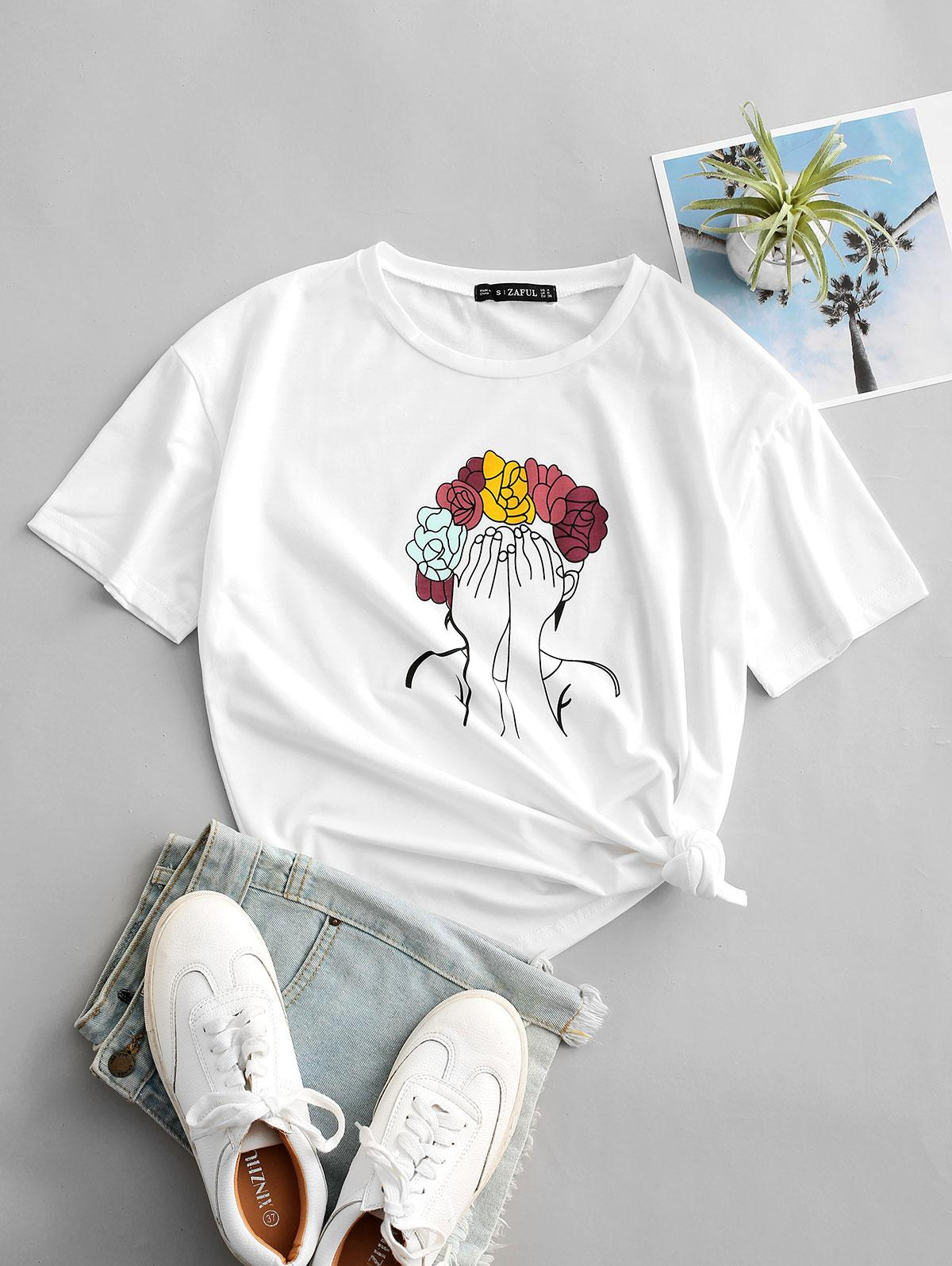 Flower Girl Print Short Sleeve T-shirt