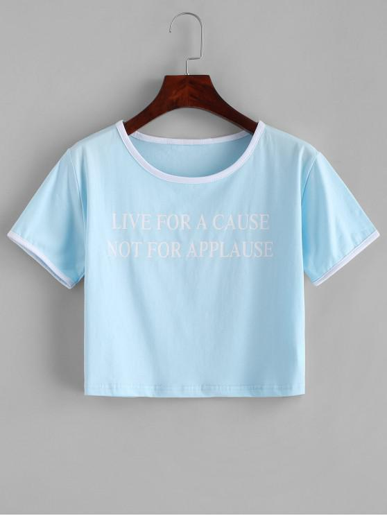 online Letter Print Piping Crop Tee - LIGHT BLUE M