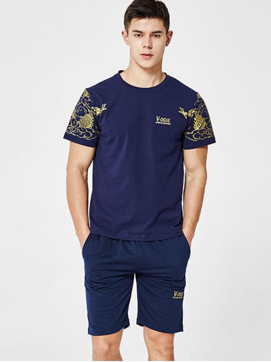 ドローストリングショーツとグラフィックTシャツ - 藍色 2XL
