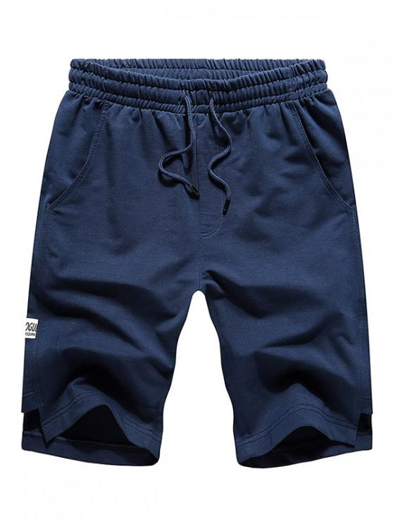 Solid Cut Hem Drawstring Casual Shorts - طالبا الأزرق 2XL
