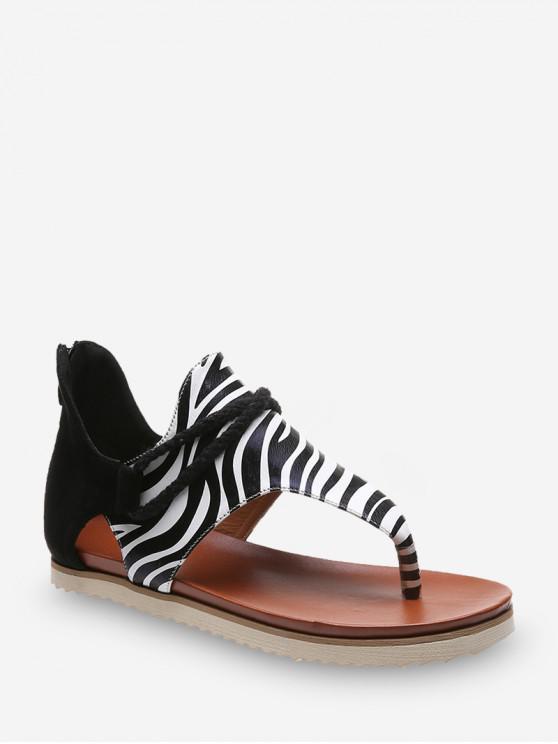 new Toe Post Animal Print Flat Sandals - BLACK EU 41