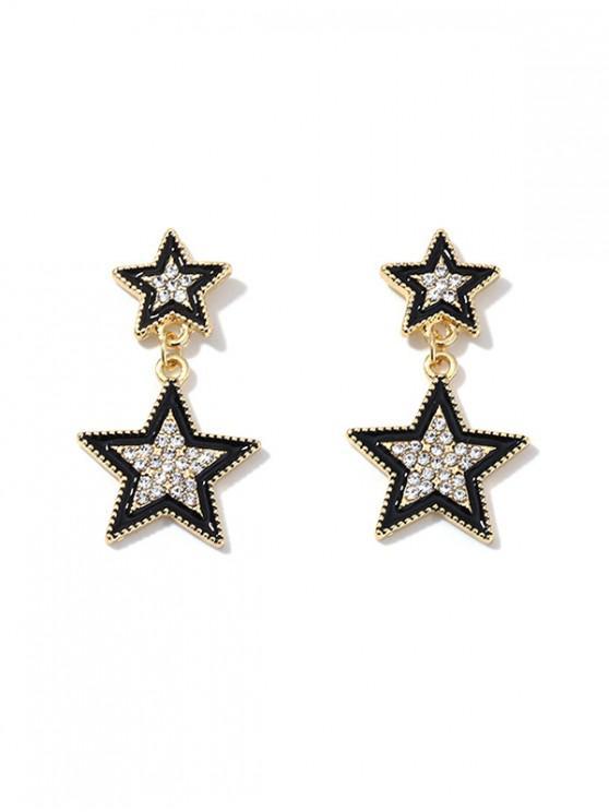 Pendientes de Estrella Diamantes de Imitación - Negro