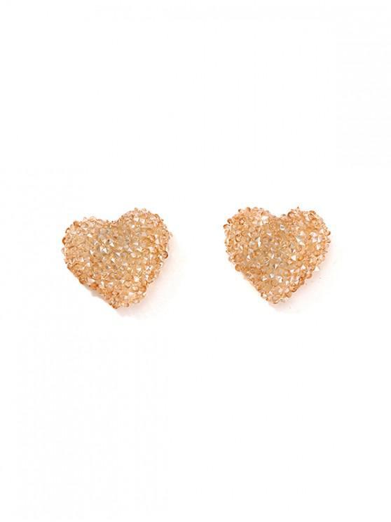 Pendientes de Diamantes de Imitación con Forma de Corazón - Champán