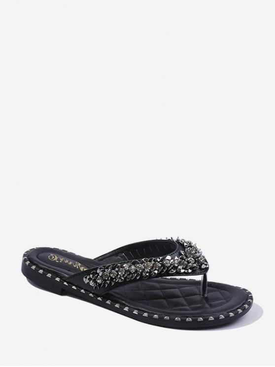 Sandalias de Playa Plana con Lentejuelas de Diamantes de Imitación - Negro EU 38