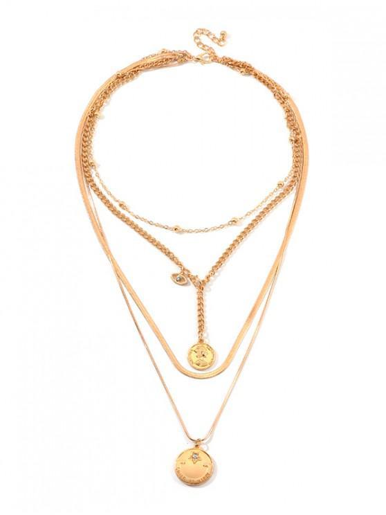 Rhinestone Disco en Forma de Collar en Capas - Oro