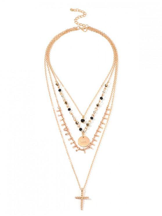 Rhinestone Disco en Forma de Cruz en Capas Collar - Oro