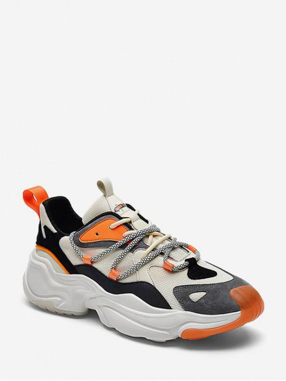 trendy Mix Material ColorBlock Breathable Ugly Sneakers - ORANGE EU 40
