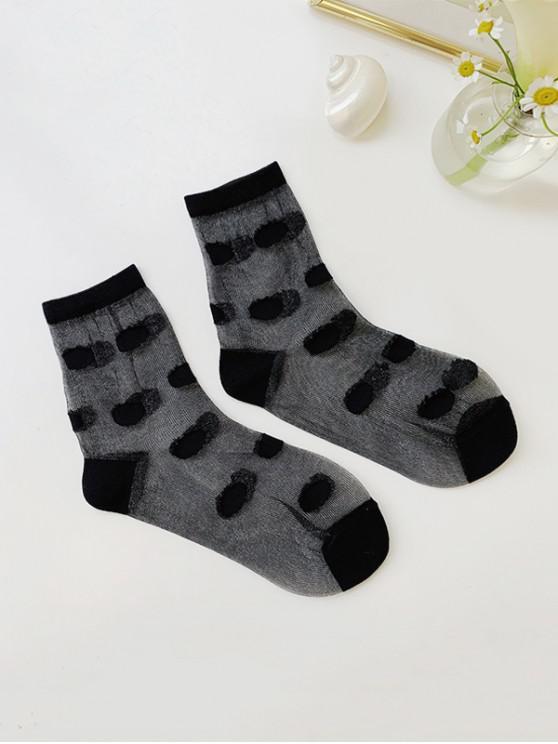 women Dot Pattern Transparent Ankle Socks - BLACK