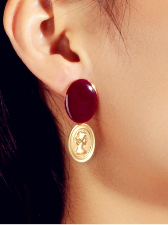 Pendientes de Retrato de Piedras Preciosas Ovaladas de Imitación - Rojo Lava