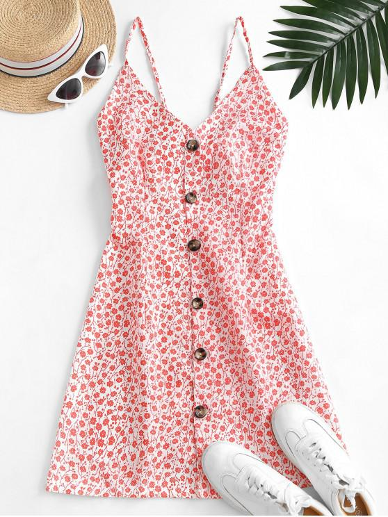 latest Button Up Tie Back Ditsy Floral Dress - RED S