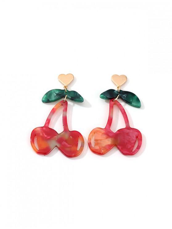 Pendientes de Gota de Acrílico Forma de Cereza - Castaño Rojo