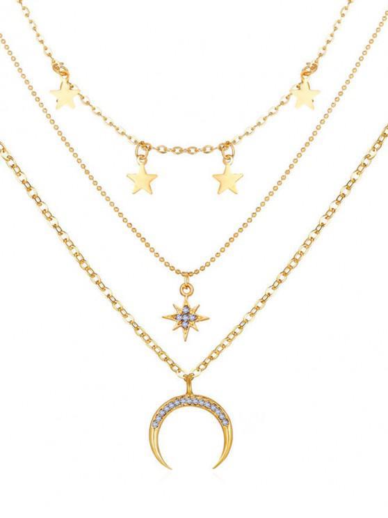 Collar Multi-Capas Patrón Estrellas Luna - Oro
