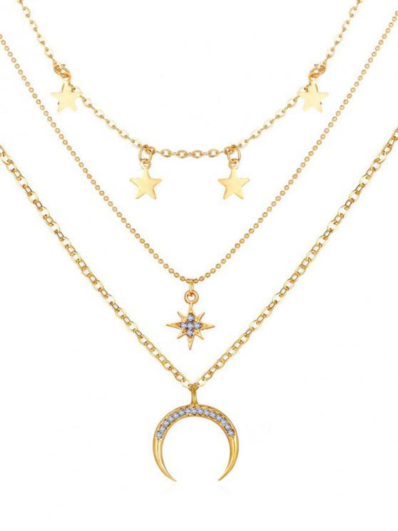 womens Moon Stars Pattern Multi-layer Pendant Necklace - GOLD