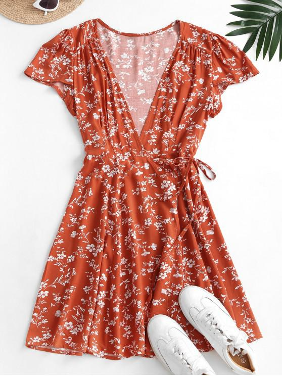 shops Ditsy Floral Mini Wrap Dress - CHESTNUT RED L