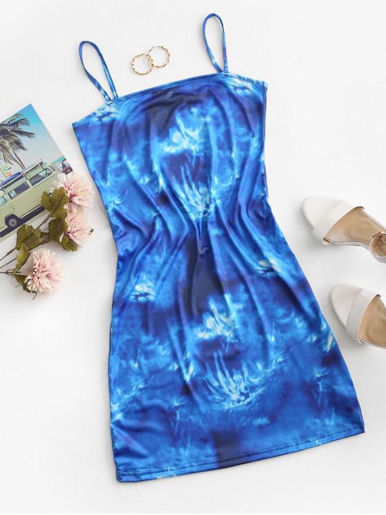 unique Tie Dye Cami Mini Dress - BLUE M