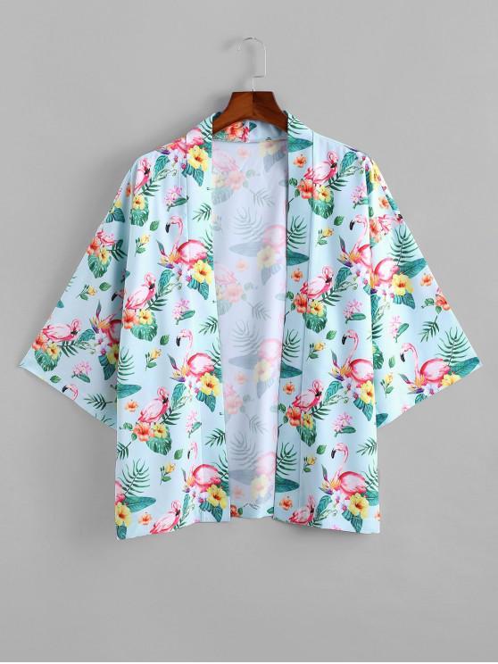 fancy Flamingo Tropical Print Kimono Cardigan - LIGHT BLUE 2XL