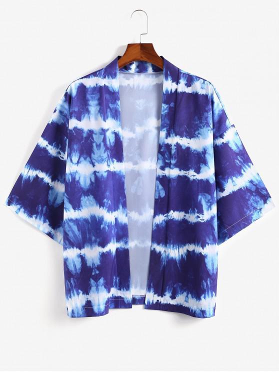 fancy Open Front Tie Dye Print Kimono Cardigan - SILK BLUE 2XL