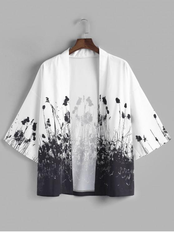 outfits Ink Painting Print Kimono Cardigan - WHITE 2XL