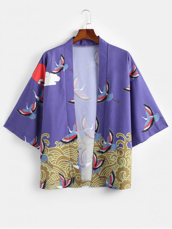 affordable Wave Cranes Print Open Front Kimono Cardigan - PURPLE 2XL
