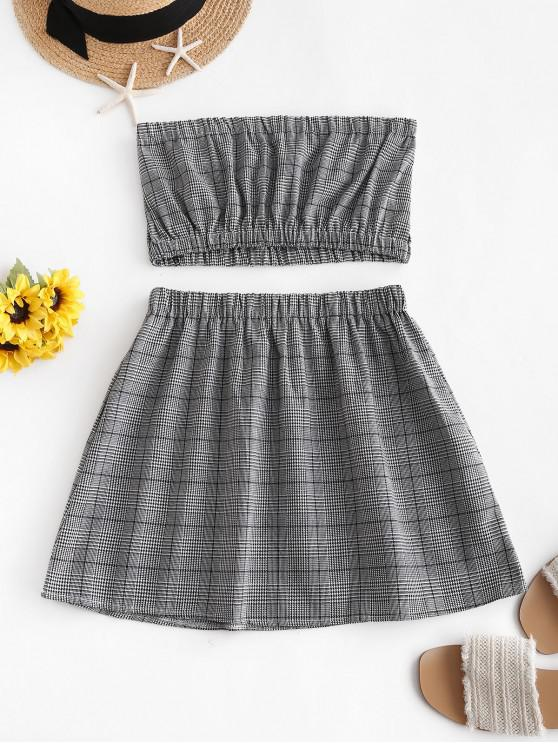 affordable ZAFUL Glen Plaid Bandeau Two Piece Dress - GRAY S