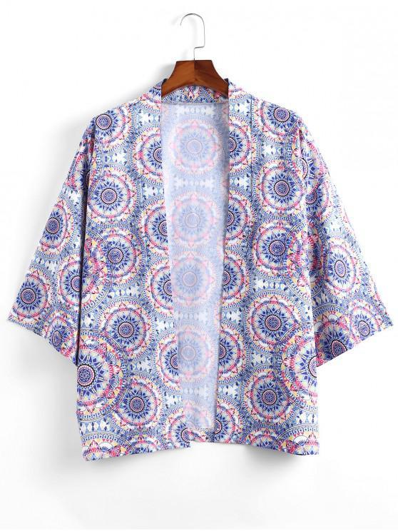 Böhmischer Druck Offene Vorder Kimono - Multi-A 2XL