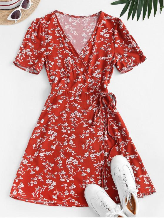 hot V Neck Tiny Floral Wrap Dress - RED L
