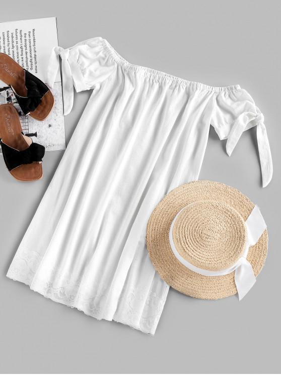 outfit ZAFUL Off Shoulder Knotted Lace Panel Mini Dress - WHITE L