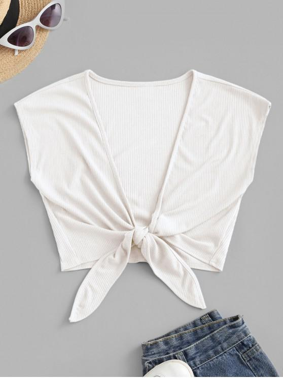 latest ZAFUL Tie Front Ribbed Cropped Top - WHITE L