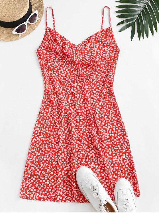 online ZAFUL Cowl Front Ditsy Floral Cami Dress - RED S