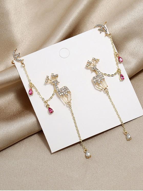 Pendientes de Ciervo de Diamantes de Imitación Completa - Oro