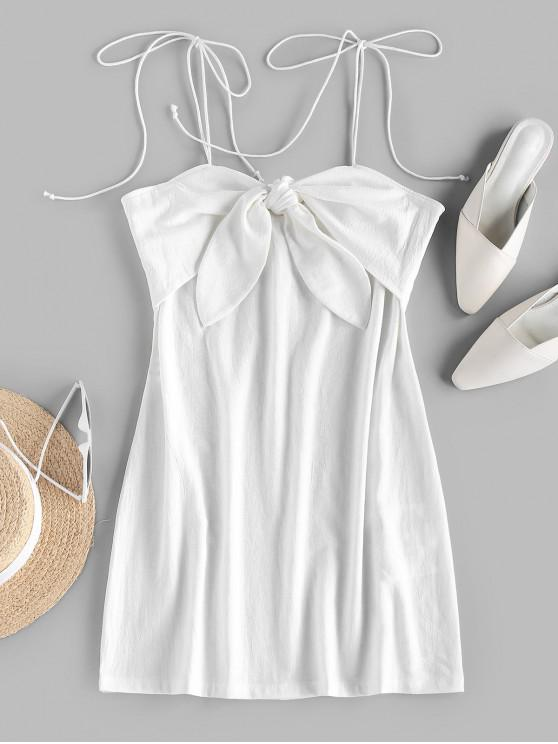 shops ZAFUL Tie Shoulder Knotted Cami Mini Dress - WHITE S