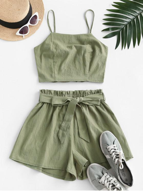 ladies ZAFUL Smocked Back Belted Paperbag Shorts Set - CAMOUFLAGE GREEN M