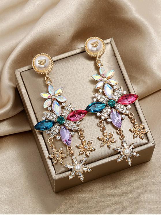 Diseño cuelga los pendientes de perlas de imitación del Rhinestone - Multicolor
