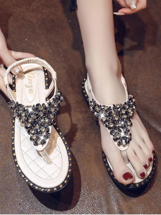best Rhinestone Elastic T-Strap Clip Toe Flat Sandals - BEIGE EU 41