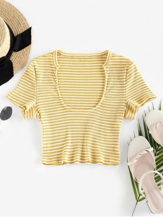 hot ZAFUL Ribbed Striped Crop T-shirt - MULTI-A M