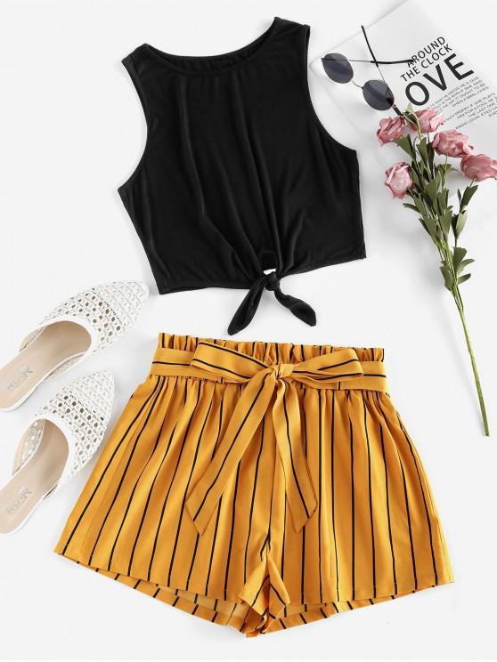 women's ZAFUL Tie Front Striped Paperbag Two Piece Set - BLACK XL