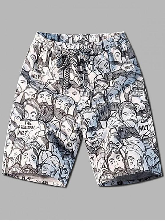 Character Letter Print Casual Shorts - أبيض S