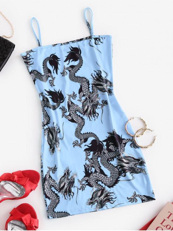 women's Dragon Print Oriental Cami Mini Dress - DAY SKY BLUE L