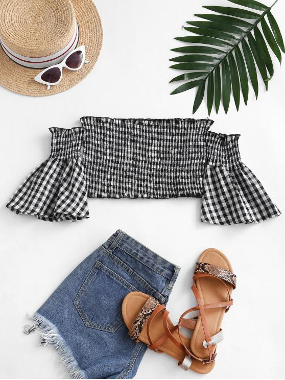 outfits Smocked Plaid Off Shoulder Blouse - BLACK L