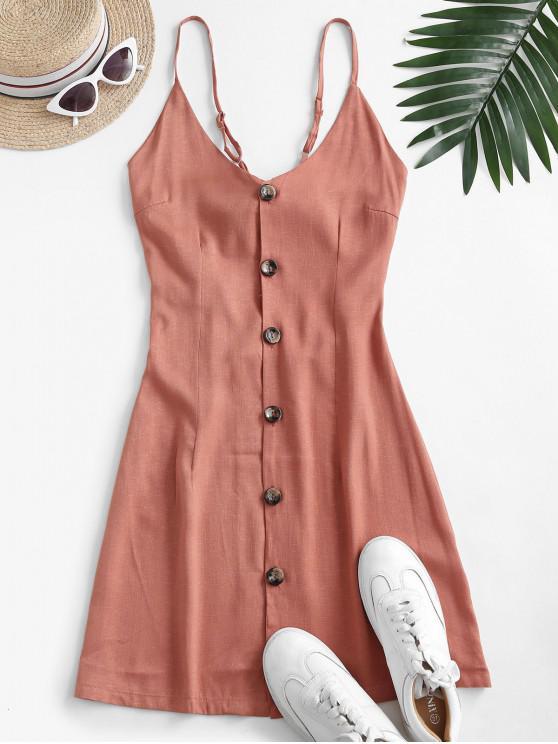 sale Tie Back Button Up Cami Dress - ORANGE SALMON M