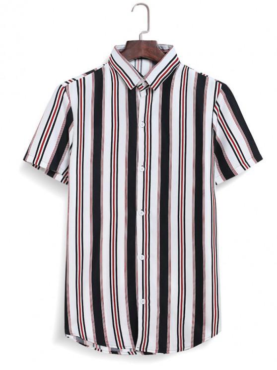 Camisa Rayas de Contraste con Botones - Blanco L