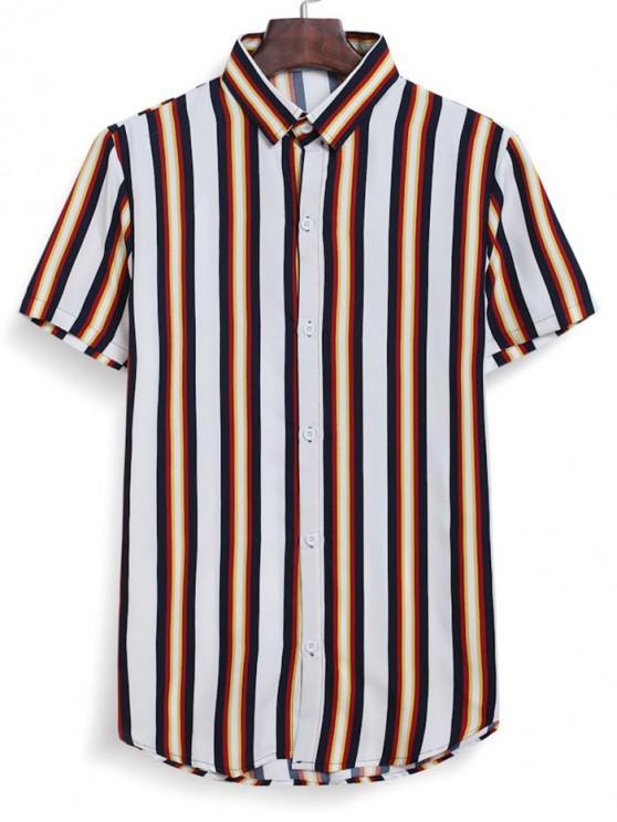 womens Stripes Button Down Shirt - WHITE L