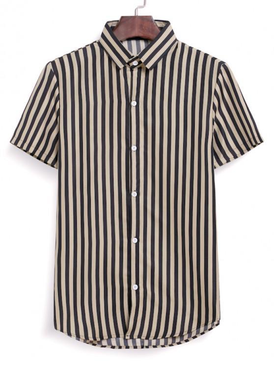 Gestreiftes Hemd mit Kurzen Ärmeln und Knopfleiste - Braunes Kamel  XL